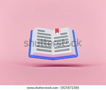 cartoon style minimal Open book isolated on pastel pink background. 3d rendering