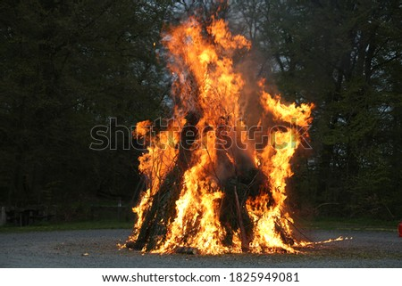 Walpurgis Night, mayfire, burning of the witches. Traditional european feast day. Royalty-Free Stock Photo #1825949081