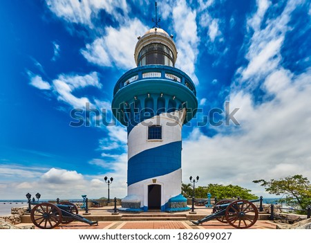 Lighthouse of Santa Anna fort Las Penas district landmark of Guayaquil Ecuador in south america Royalty-Free Stock Photo #1826099027