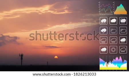 Weather forecast symbol data for meteorology presentation with graph and chart on dramatic atmosphere panorama view of colorful twilight tropical sky and  clouds aerial summer view background. Royalty-Free Stock Photo #1826213033