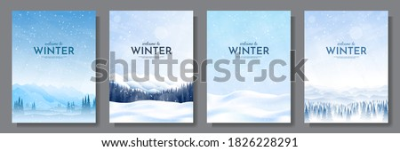 Vector illustration. Flat winter landscape. Snowy backgrounds. Snowdrifts. Snowfall. Clear blue sky. Blizzard. Snowy weather. Design elements for poster, book cover, brochure, magazine, flyer, booklet #1826228291