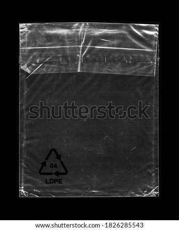 Blank transparent wrinkle plastic packaging overlay with grungy texture Royalty-Free Stock Photo #1826285543