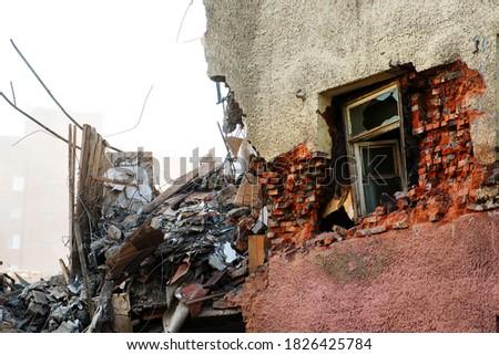 Pile of demolition rubble. Gray rubble at a building site. Concrete rubble debris on construction site #1826425784