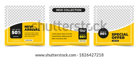 Set of Editable minimal square banner template. Black and yellow background color with stripe line shape. Suitable for social media post and web internet ads. Vector illustration with photo college Royalty-Free Stock Photo #1826427218