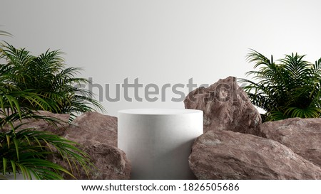 Minimal cosmetic background for product presentation. Cosmetic bottle podium and green leaf on white color background. 3d render illustration. Object isolate clipping path included. Royalty-Free Stock Photo #1826505686