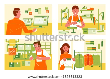 miscellaneous work in different workplace, employee at office, shoes maker, shop assistant, inventory warehouse supervisor vector illustration. used for infographic, web image and other. Royalty-Free Stock Photo #1826613323