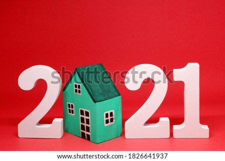 House Property trends 2021 , 2021 number wooden with House model on red background - home new year - red concept of Real Estate, Property for Sale and rent #1826641937