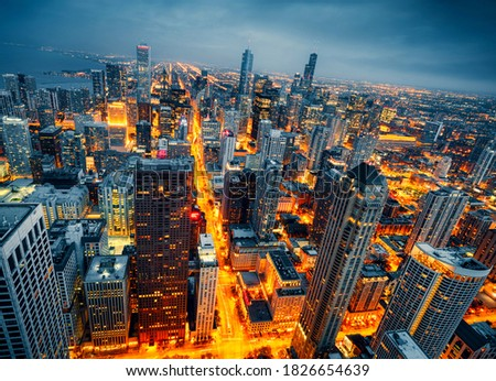 A picture of the beautiful view of Chicago skyline