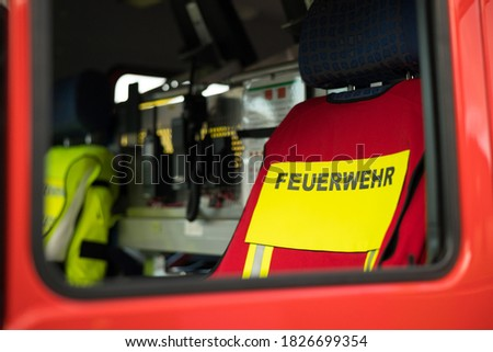 """Symbol picture fire department with the lettering """"Feuerwehr"""", translated fire department"""