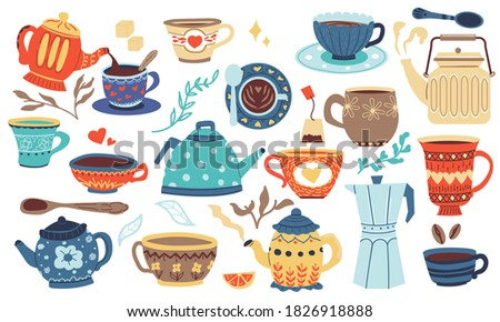 Doodle utensil. Cartoon bowl, mug, cup and jug, kitchen and home colorful cozy dishes. Cute tableware template for cuisine ceramics and fabric. Hygge cafe menu decoration, vector painted pottery set Royalty-Free Stock Photo #1826918888