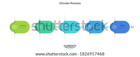 Five colorful rounded elements. Concept of 5 successive steps of business project development process. Minimal infographic design template. Modern flat vector illustration for data visualization. Royalty-Free Stock Photo #1826957468