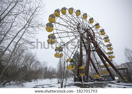 PRIPYAT, UKRAINE - MARCH 15: General view of Pripyat, the abandoned city near Chernobyl on March 15, 2013 in Pripyat, Ukraine. A nuclear disaster happened here after reactor nr 4 exploded 27 years ago #182701793