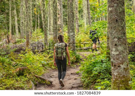 Hike trail hiker woman walking in autumn fall nature woods during fall season. Hiking active people tourists wearing backpacks outdoors trekking in pine forest. Royalty-Free Stock Photo #1827084839