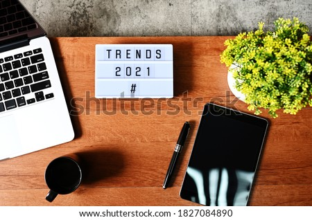 TRENDS 2021 Business Concept,Top view Royalty-Free Stock Photo #1827084890