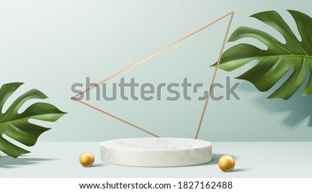 Product display podium decorated with pearls and leaves on aqua blue, 3d illustration  #1827162488