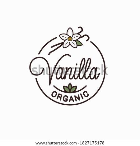 Vanilla logo. Round linear logo of vanilla flower on white background Royalty-Free Stock Photo #1827175178