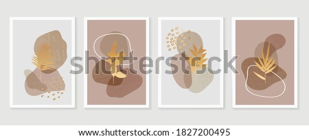 Gold botanical wall art vector set. Earth tone boho foliage line art drawing with  abstract shape.  Abstract Plant Art design for print, cover, wallpaper, Minimal and  natural wall art. #1827200495