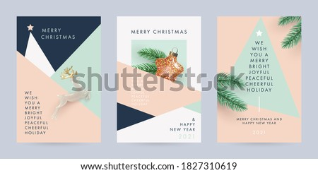 Merry Christmas and Happy New Year Set of backgrounds, greeting cards, posters, holiday covers. Design with realistic New Year's eve  Christmas tree branches, star and deer toy. Xmas festive templates #1827310619