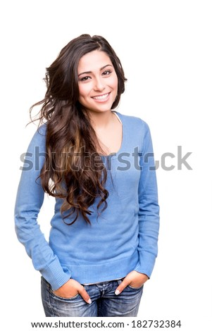 Young woman posing and smiling over white background #182732384