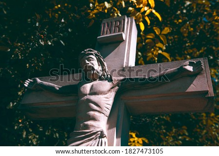 Jesus crucifixion . Sculpture of Christ on the cross