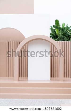 Minimal empty space scene with pink painted wall and little step with arc  for photoshoot in natural light scene / studio concept / rose pink theme / outdoor studio / modern minimal style