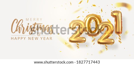 2021 year, golden numbers balloons, 3d volumetric balloons, new year and christmas, vector illustration #1827717443