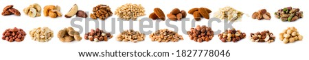 Set of Nuts Walnuts, Brazil Nut, Almond, cashew, Pine Nut peanuts, pistachios, pecans collection Isolated, Set of different delicious organic nuts on white background Royalty-Free Stock Photo #1827778046