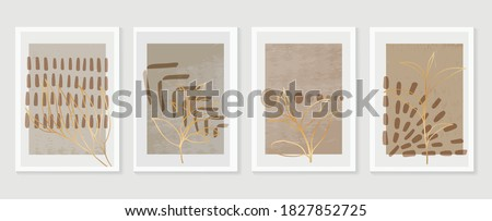Botanical and golden line wall art vector set. Earth tone boho foliage line art drawing with  abstract shape.  Abstract Plant Art design for print, cover, wallpaper, Natural wall art.  #1827852725