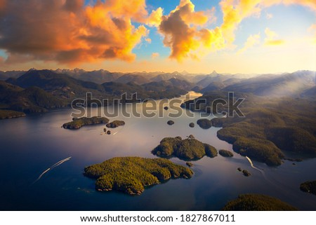 Beautiful aerial view of the west coast on Vancouver Island. Picture taken in Bligh Island Marine Provincial Park, BC, Canada. Sunset or Sunrise Sky Artistic Render