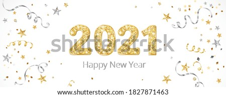 New year banner with decoration. 2021 gold glitter numbers. Falling confetti ribbons and stars. Gold and silver frame. For Christmas and winter holiday headers, party flyers. Vector illustration. #1827871463