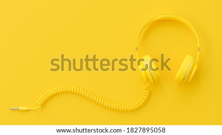 Yellow headphones. Clipping path and copy space for your text. minimal idea concept, 3d render.