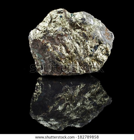 Chalkopyrite copper with reflection on black surface background  #182789858