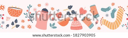 Hygge Autumn and winter pattern border design. Cute and cosy vector seamless repeat banner. Illustration of scarfs, mittens, coffee, winter woodland foliage and stars.  Royalty-Free Stock Photo #1827903905