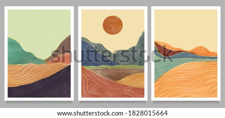 set of creative minimalist hand painted illustrations of Mid century modern. Natural abstract landscape background. mountain, forest, sea, sky, sun and river Royalty-Free Stock Photo #1828015664