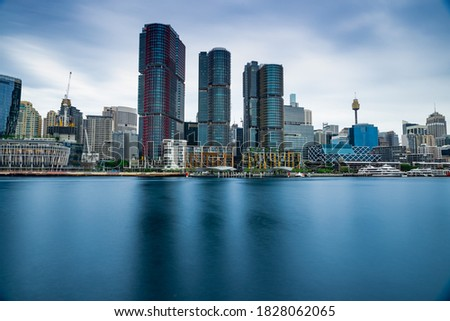 Panoramic view of Sydney Harbour and City Skyline of Darling Harbour and Barangaroo Australia Royalty-Free Stock Photo #1828062065
