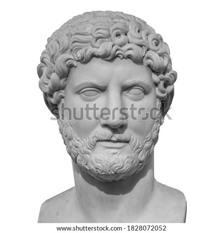 Head and shoulders detail of the ancient man with beard sculpture. Antique face with whiskers statue isolated on white background Royalty-Free Stock Photo #1828072052