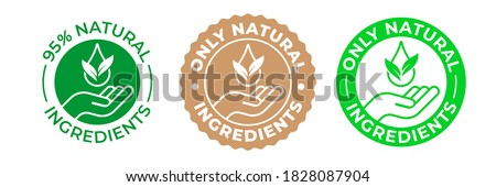 Natural ingredients product icon, green organic bio vector logo with hand, leaf and drop. 95 percent natural ingredients, pure eco label stamp for products package, GMO free and no paraben certificate Royalty-Free Stock Photo #1828087904