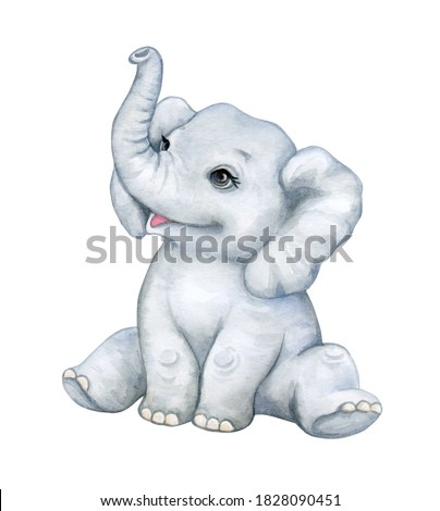 Baby elephant isolated on white background. African animals. Safari. Illustration. Template. Hand drawn. Greeting card design. Clip art.
