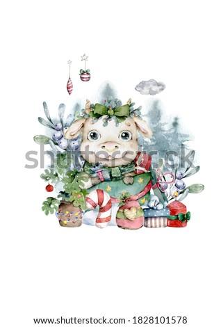 Cute Cartoon Bull in Santa hat with toy. Hand drawn watercolor christmas illustration. Chines calendar symbol 2021 Nursery clip art
