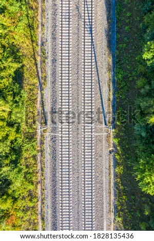 Railway track tracks line railroad train rail aerial photo view portrait format transport