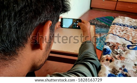 Man holding mobile phone in hands mobile photography concept