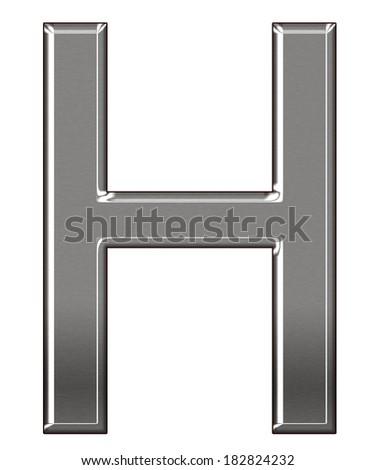 "Metal Letter ""H"" chrome alphabet  isolated on white background #182824232"