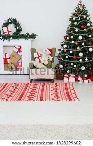 Christmas tree pine with fireplace interior of the house new year decoration garland gifts postcard
