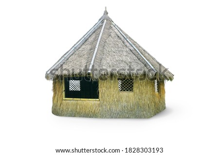 Outdoor tiki hut, beach hut bar, hay thatch hut, tribal hut, straw beach bar, tropical bungalow isolated on white background with clipping path. Royalty-Free Stock Photo #1828303193