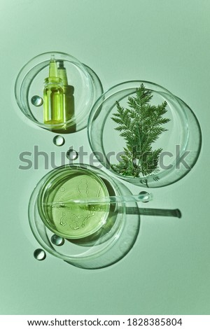 Abstract cosmetic laboratory. Chemical laboratory research. Nature cosmetics. Royalty-Free Stock Photo #1828385804