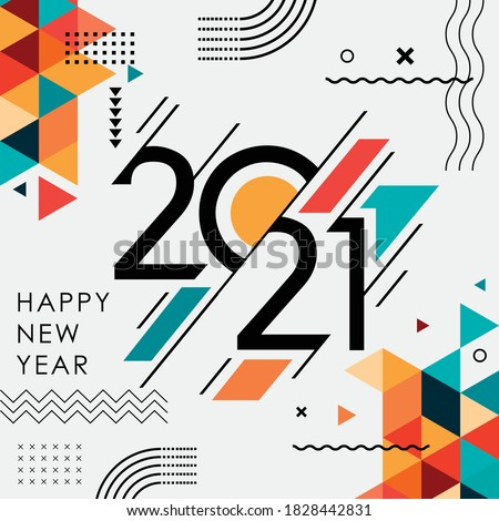 happy new year 2021 banner with modern geometric abstract background in retro style. happy new year greeting card design for year 2021 calligraphy includes colorful shapes. Vector illustration #1828442831