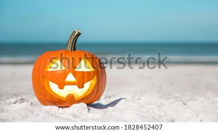 Halloween party on the beach. Pumpkin Jack-o'-lantern. Jack o lantern for Happy Halloween. Autumn season. On background ocean. Autumn in Florida. Fall season. Copy space. #1828452407