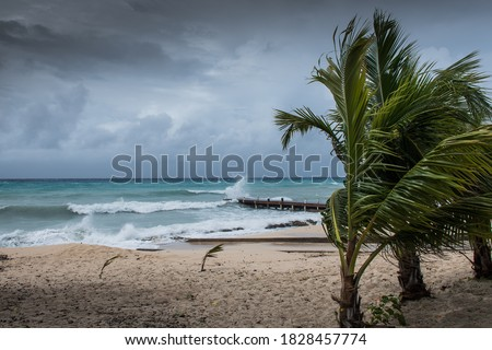 Hurricane Delta tearing up the coastline of Grand Cayman