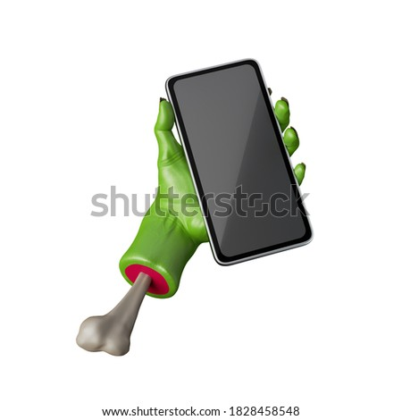 3d render, green zombie hand holds smart phone, wireless gadget with blank screen mockup. Halloween clip art isolated on white background