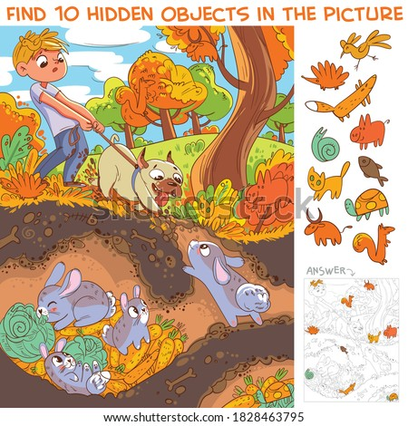 Dog pulls leash with its owner. Dog digs a rabbit hole. View hare house underground. Find 10 hidden objects in the picture. Puzzle Hidden Items. Funny cartoon character Royalty-Free Stock Photo #1828463795
